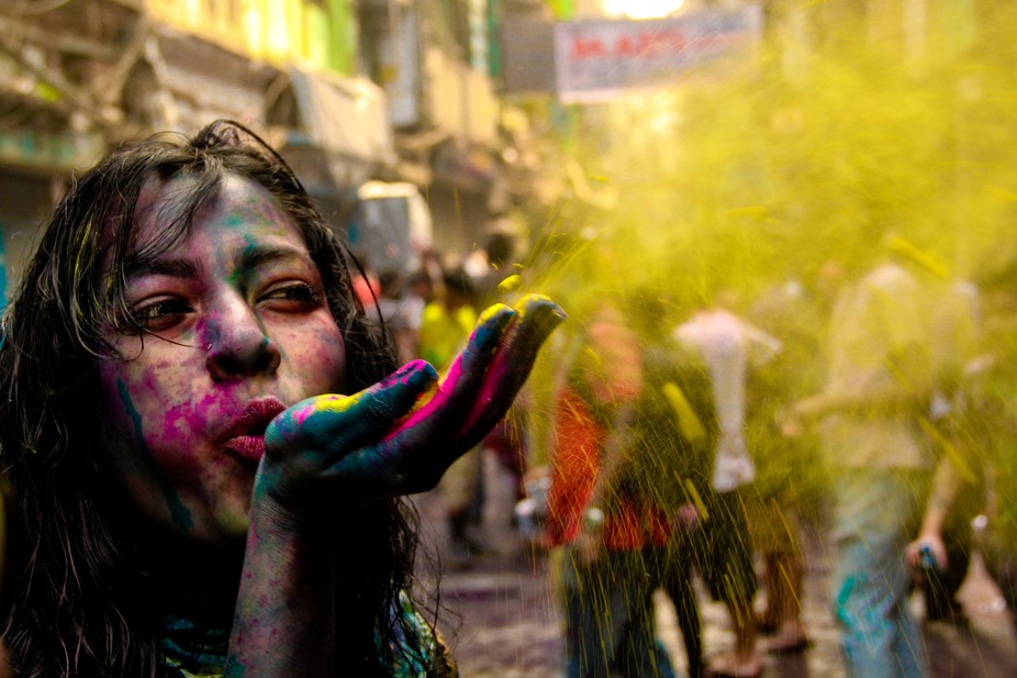 Holi is a colorful festival of hindu religious,In this festival they through color each other.