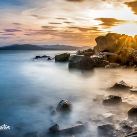 Donegal Ireland at the coast. Sunset with long exposure ND filter