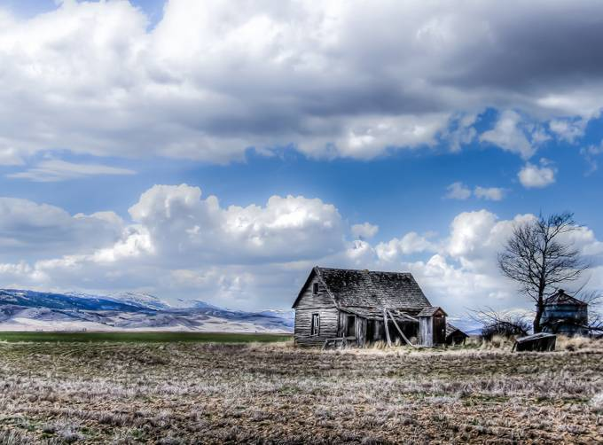 Grey Cabin And Blue Skys by jimmoon_8772 - Dry Fields Photo Contest