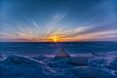 Sunset over the Frozen Arctic Ocean