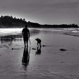 On walk in Tofino, BC with Cash.