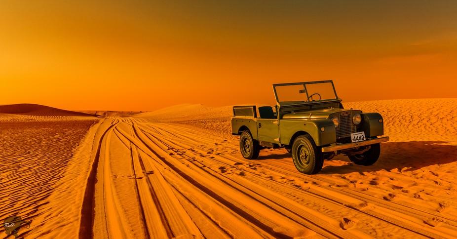 Dubai Desert with Vintage Land Rovert