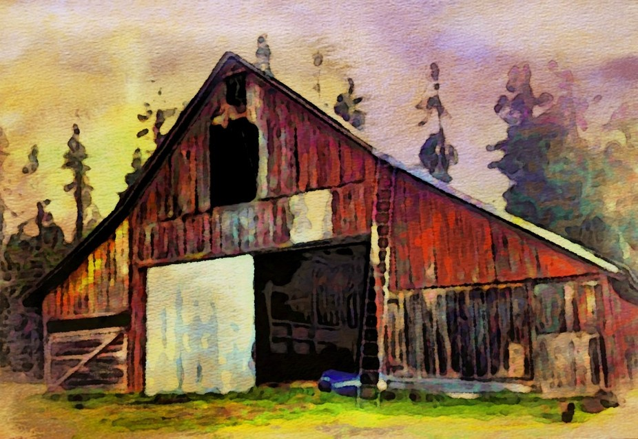 Old barn with watercolor treatment