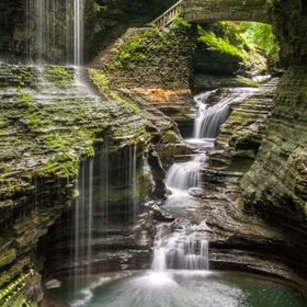 "The famous Rainbow Falls Bridge overlooking Rainbow Falls and the Triple Cascade, Watkins Glen State Park, NY.  Won ""Photo of the Day"" ..."