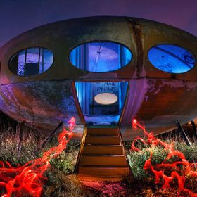 An abandoned 'Futuro' house becomes a hillbilly starship under the right lighting. This was a very difficult shoot but it turned out great.