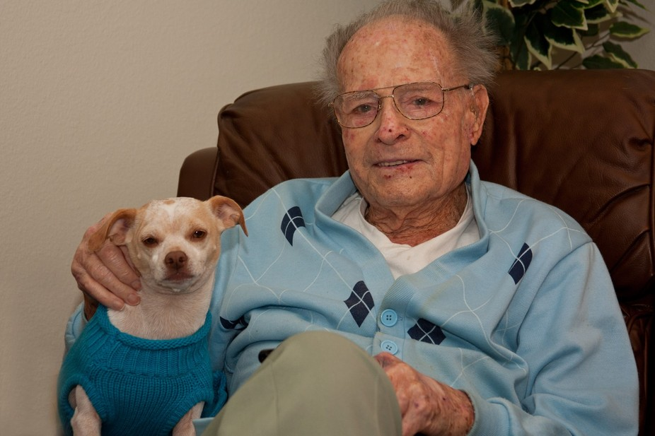 My Uncle who was 3 months away from 96 years with my pup. They were the best of friends.