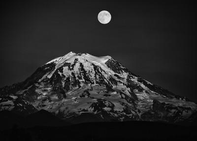 Full moon over Mt. Rainier in Black and White
