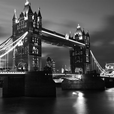 Black & White shot of Tower Bridge and the Thames at night