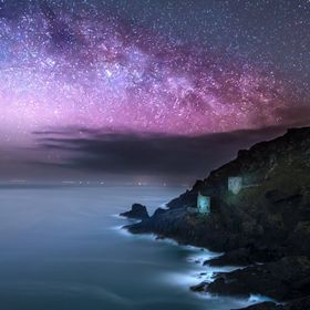 Cornish tin mines near St Just Cornwall under the night sky