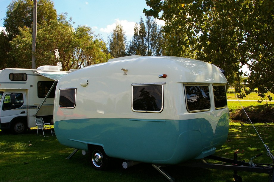 Love this cute 60\'s restored caravan, but only at a distance