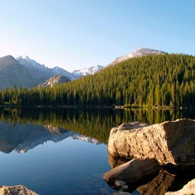Morning light reflections on Bear Lake in Rocky mountain National Park, Colorado.