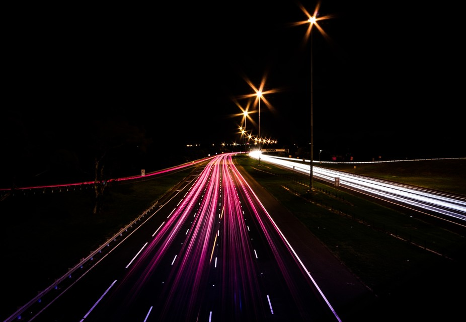 Long exposure night shot of Melbourne\'s Eastern Fwy