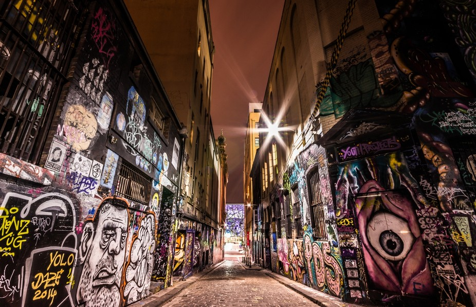Long exposure night shot of Melbourne City\'s \'Hosier Lane\', well known for its street art.