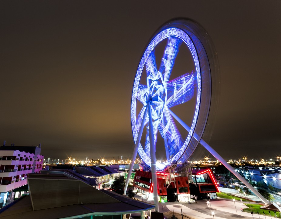 Long exposure night shot of the Melbourne Star ferris wheel.