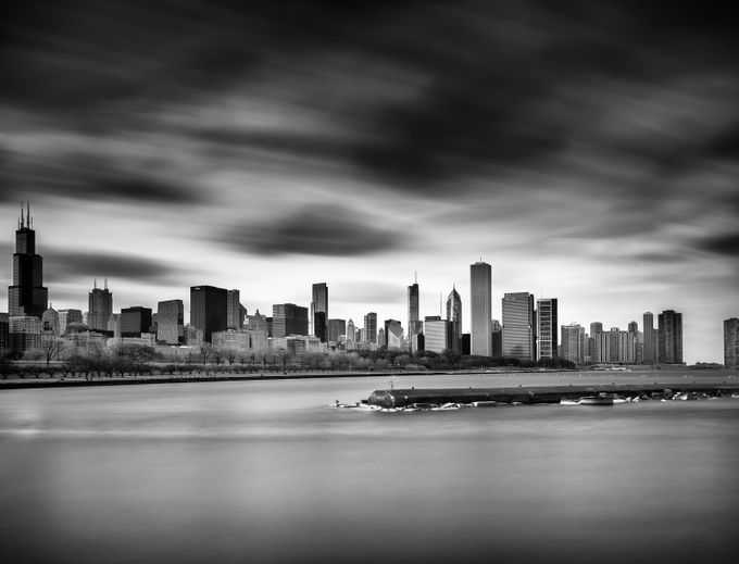 Chicago Skyline and Breakwater v2 by jim_barbour - The Moving Clouds Photo Contest