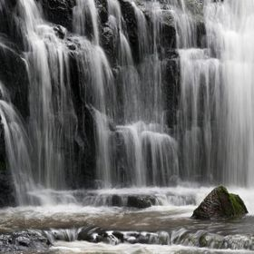 Water cascades across the rocks, deep in the New Zealand Forest after heavy rain