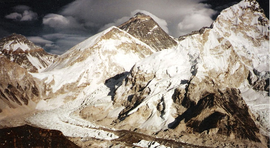 Mount Everest, Mount Lhotse, and Mount Nuptse from across the Khumba Valley from about 18,500 fee...
