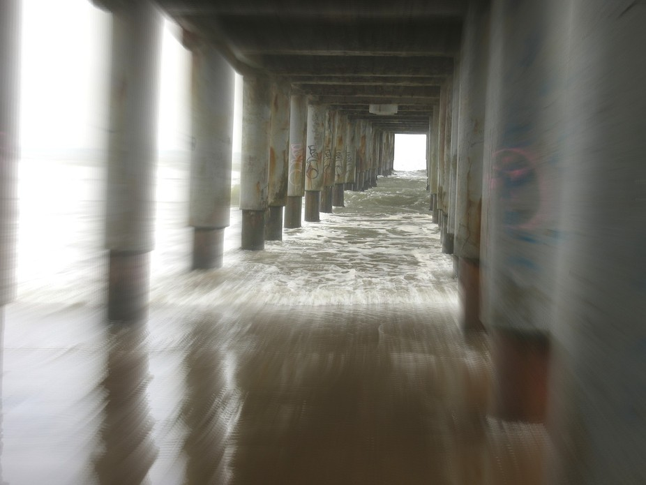 Under the pier photo (in a cloudy day), with motion/movement effect