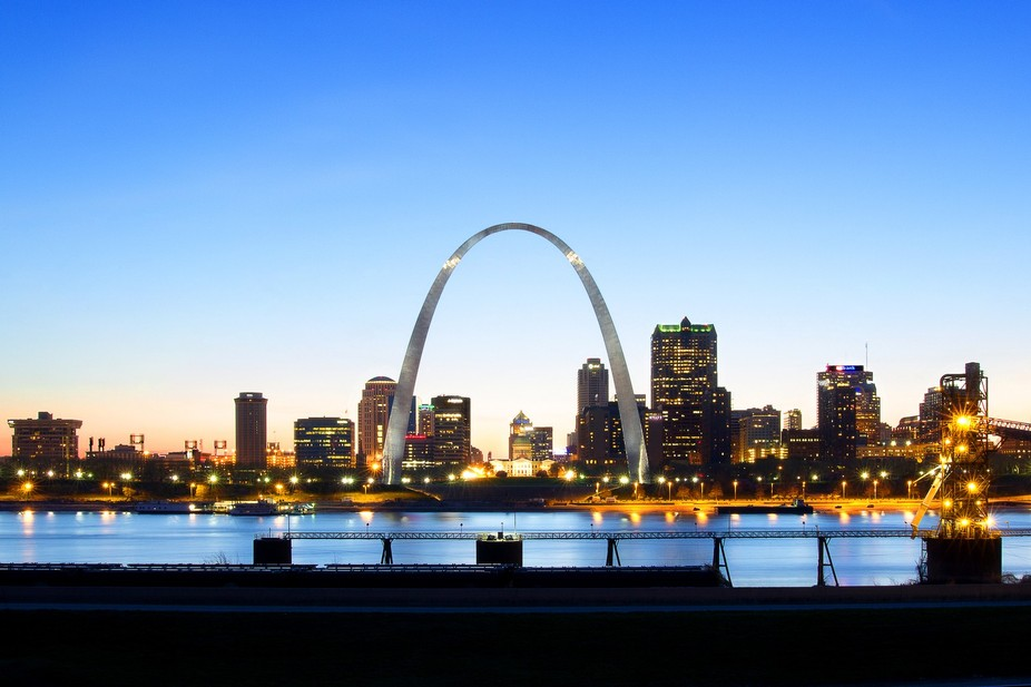 The St Louis skyline as seen from Illinois.