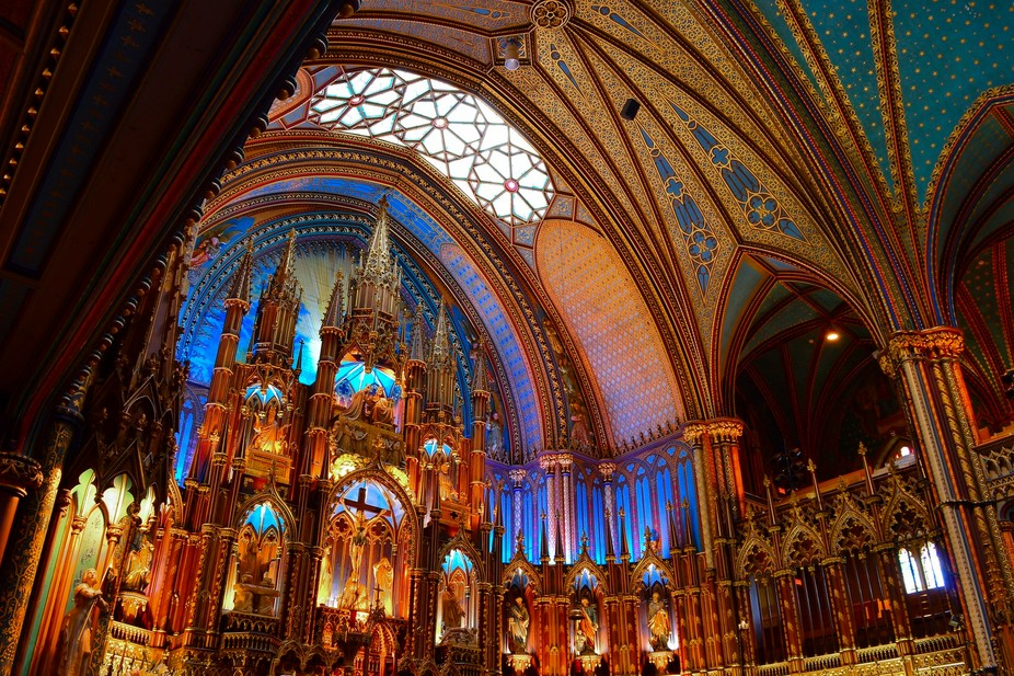Montreal Catholic church in a Gothic style architecture.