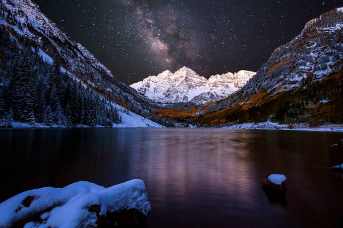 Moon on the Maroon Bells by wishiwsthr - Our World At Night Photo Contest