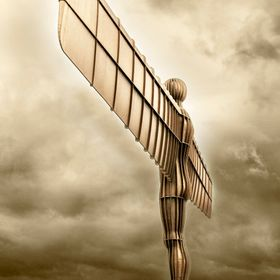 The Angel of the North is a 20 meter high sculpture with a 54 meter wing span. It was created by Antony Gormley and stands at the side of the A1 ...