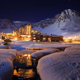 Val Claret, Tignes in the French Alps.  The mountains were lit beautifully at night.