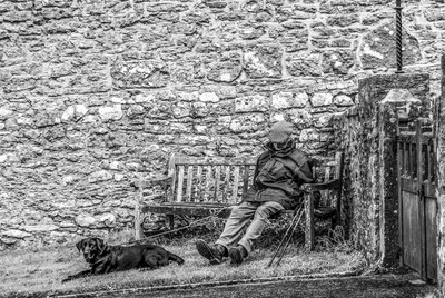 B&W Old Man On Bench