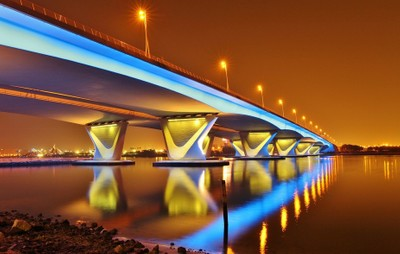 Evening light from Dubai Garhoud Bridge