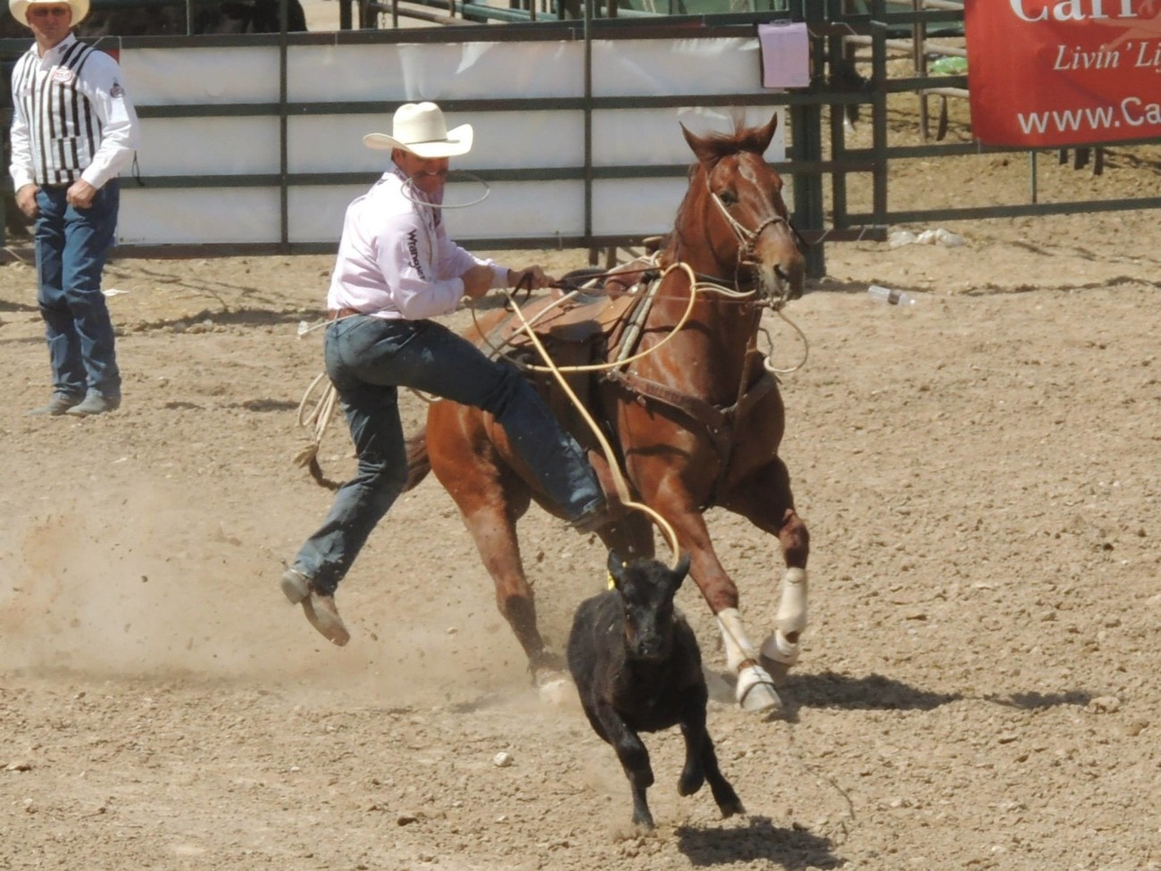 19X World Champion Trevor Brazile tie down roping at the Guymon Pioneer Days Rodeo