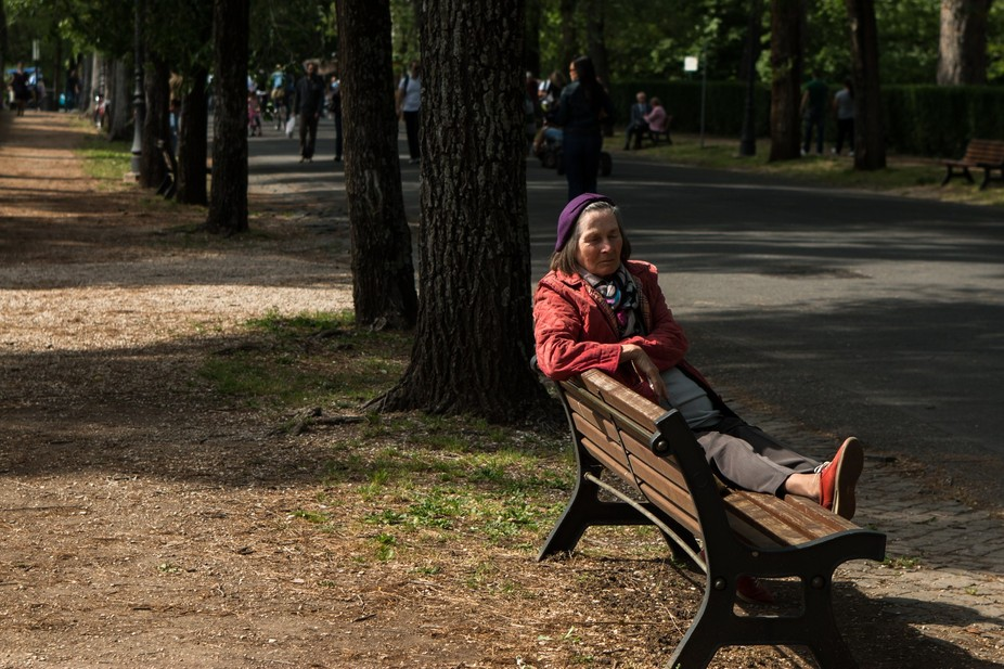 Having a break and enjoying the sun in Villa Borghese, Rome, spring 2014.  Shot with a Canon 70D,...