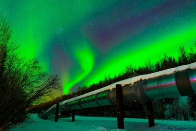 Aurora Over Alaska Pipeline