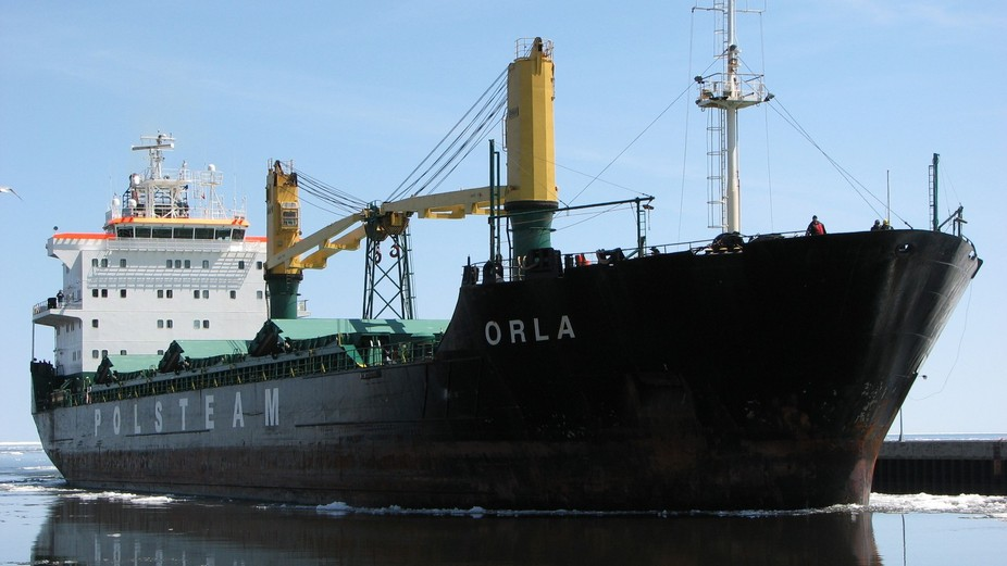 Cargo ship Orla, flagged in Malta.  Arriving at the Port of Duluth, Lake Superior Harbor.