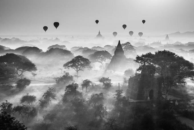 Winter Sunrise in Bagan by zayyarlynn - A Black And White World Photo Contest