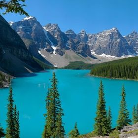 Moraine Lake and the Valley of the Ten Peaks, near Lake Louise Alberta.  A GigaPan panorama recorded with a Panasonic Lumix LX2 compact camera wi...