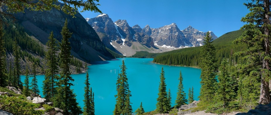 Moraine Lake and the Valley of the Ten Peaks, near Lake Louise Alberta.  A GigaPan panorama recor...