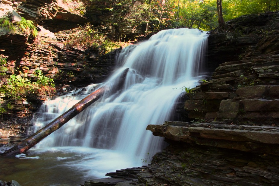One of the 21 sets of falls in Rickett\'s Glen State Park in Pennsylvania