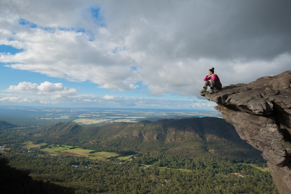 Taking a well earned rest after hiking to the top of the Pinnacles in Victoria\'s Grampians Nation...