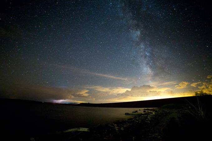 cochiti lake lightning and milkyway by Osterholtz - Capture The Milky Way Photo Contest