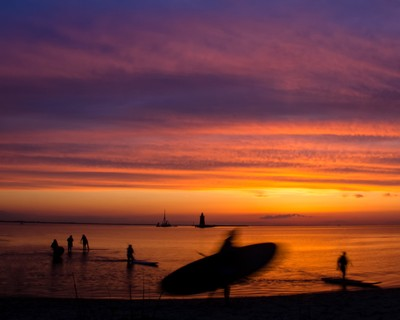 Paddle Surfers in the Sunset