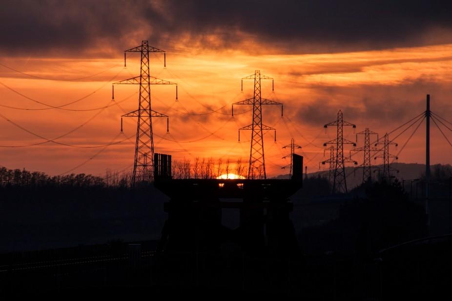 Pylons at sunset