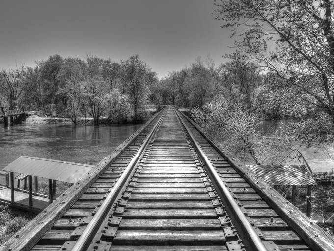 New Richmond Train Tressel by Jeta1websandpix - Depth In Black And White Photo Contest