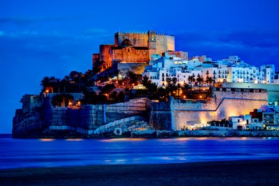 Peñíscola in the blue hour.