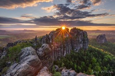 Sunset, Saxon Switzerland, Germany