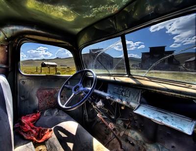 inside the green truck
