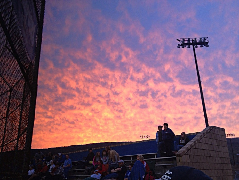 Beautiful sunset captured in Tennessee as my son was playing high school baseball