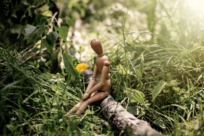Lonely wooden man