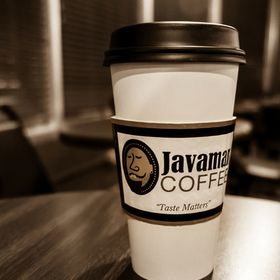 A wonderful cup of coffee to go from Javaman Coffee in Houston, Texas, USA.