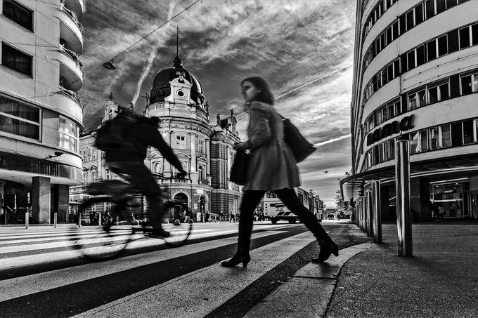 crossing by zenit - City Life In Black And White Photo Contest