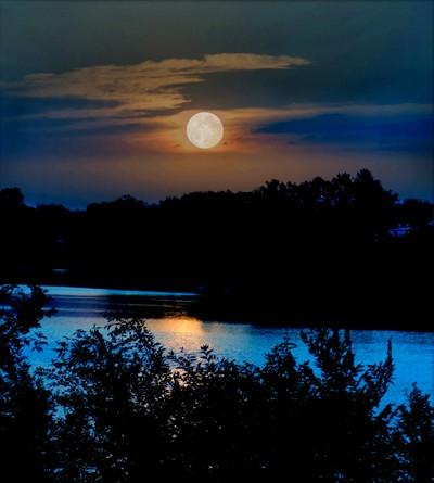 Moon Light Over The Arkansas River